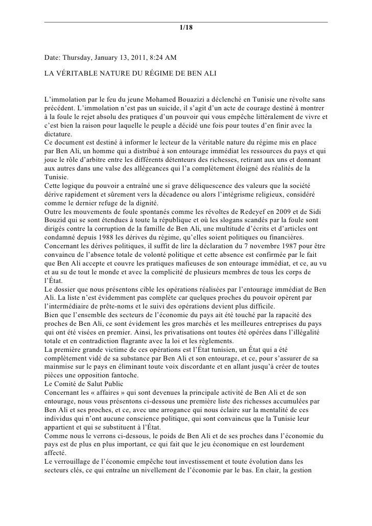 1/18Date: Thursday, January 13, 2011, 8:24 AMLA VÉRITABLE NATURE DU RÉGIME DE BEN ALIL'immolation par le feu du jeune Moha...