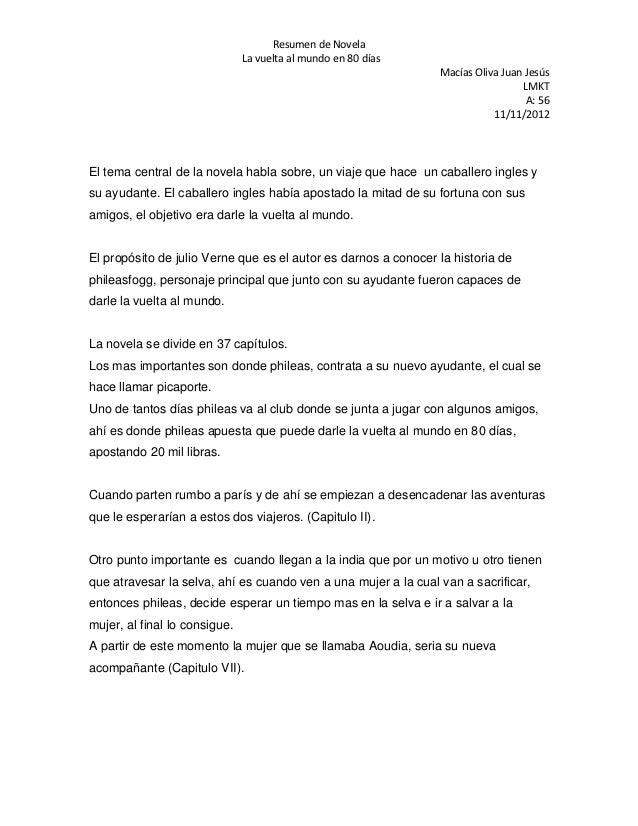 Resumen de Novela                               La vuelta al mundo en 80 días                                             ...