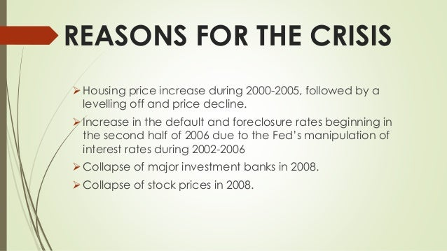 causes of the foreclosure crisis essay Research paper# alvin lim tutor: george rennie pols20031 political economy 14 april 2012 the global financial crisis: causes, remedies and discourses the global financial crisis of 2008-2012 is widely considered to be second in severity to only the great depression of the 1930s.