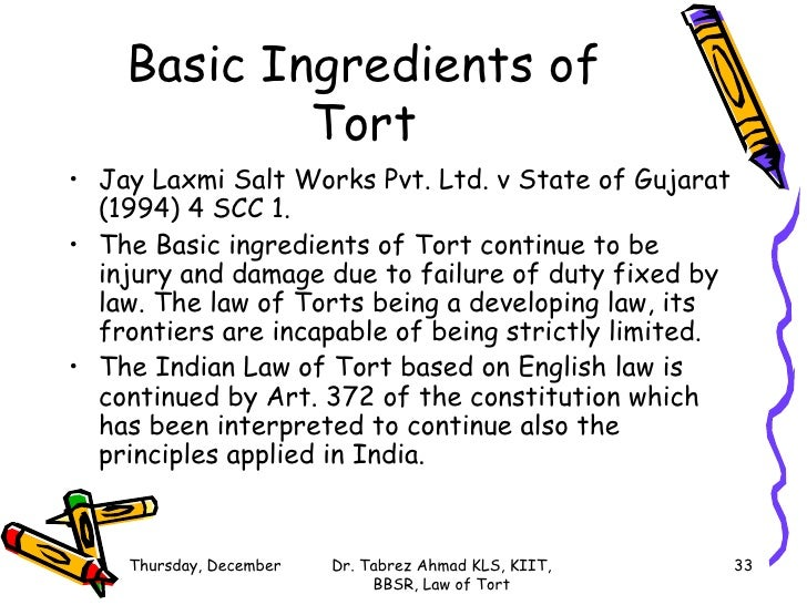 law of tort and law of Professor lindsay wiley from american university washington college of law introduces torts this is the first in a series of videos script by: prof lindsa.