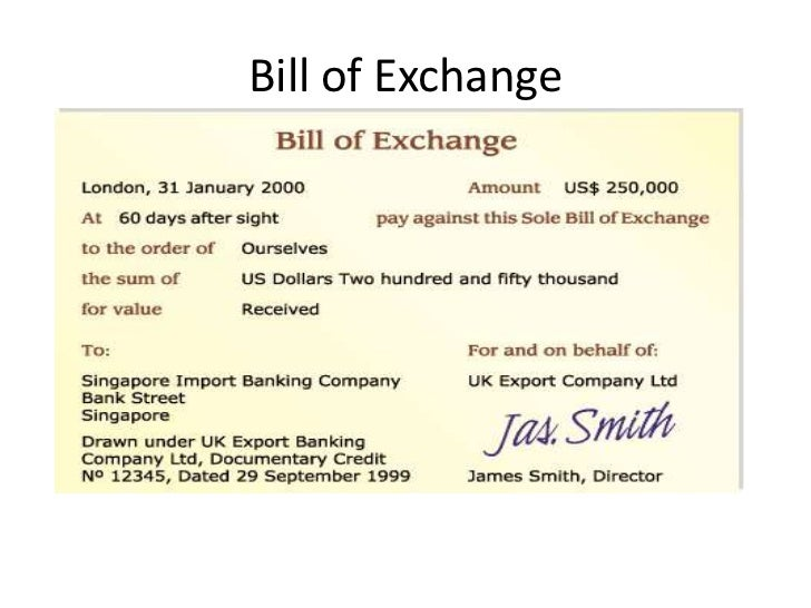 Law the negotiable instruments act 1881 – Bill of Exchange Sample