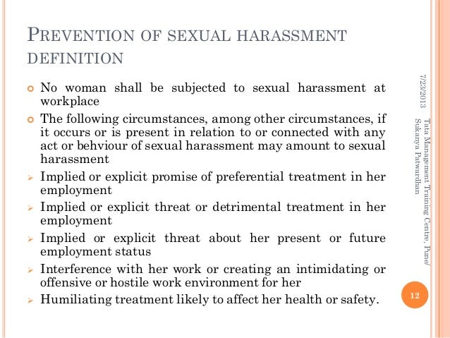 Sexual harassment at workplace act summary