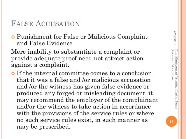 Sexual Harassment False Accusation