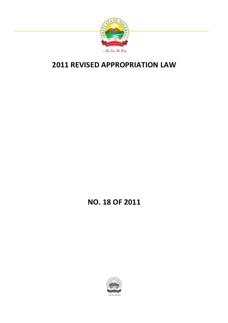 2011 REVISED APPROPRIATION LAW        NO. 18 OF 2011