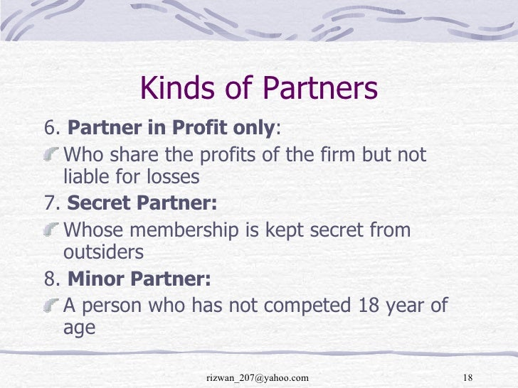 kinds of partnership
