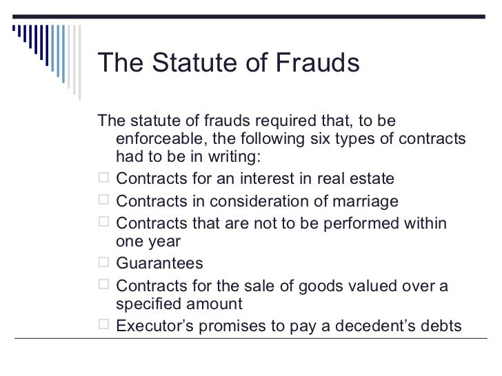 the statute of frauds requirement of Requirements for a binding agreement under the statute of frauds even when an agreement is put in writing, there are certain elements that must be contained in the writing in order for the contract to be considered valid and binding.