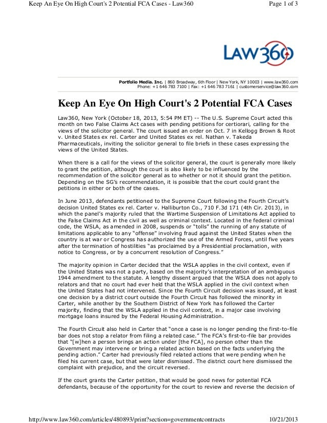 Keep An Eye On High Court's 2 Potential FCA Cases - Law360  Page 1 of 3  Portfolio Media. Inc. | 860 Broadway, 6th Floor |...