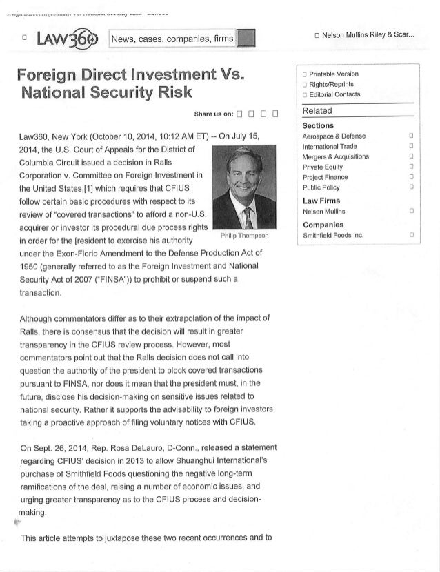 Foreign Direct Investment vs. National Security Risk