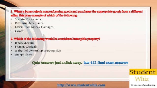 http://www.studentwhiz.com 1. When a buyer rejects nonconforming goods and purchases the appropriate goods from a differen...