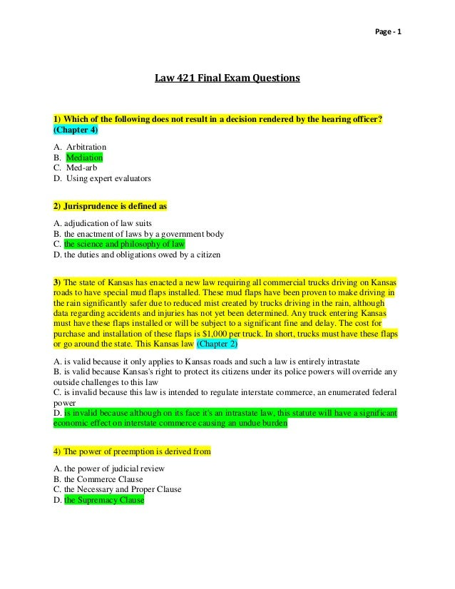 law exam questions college paper example   august