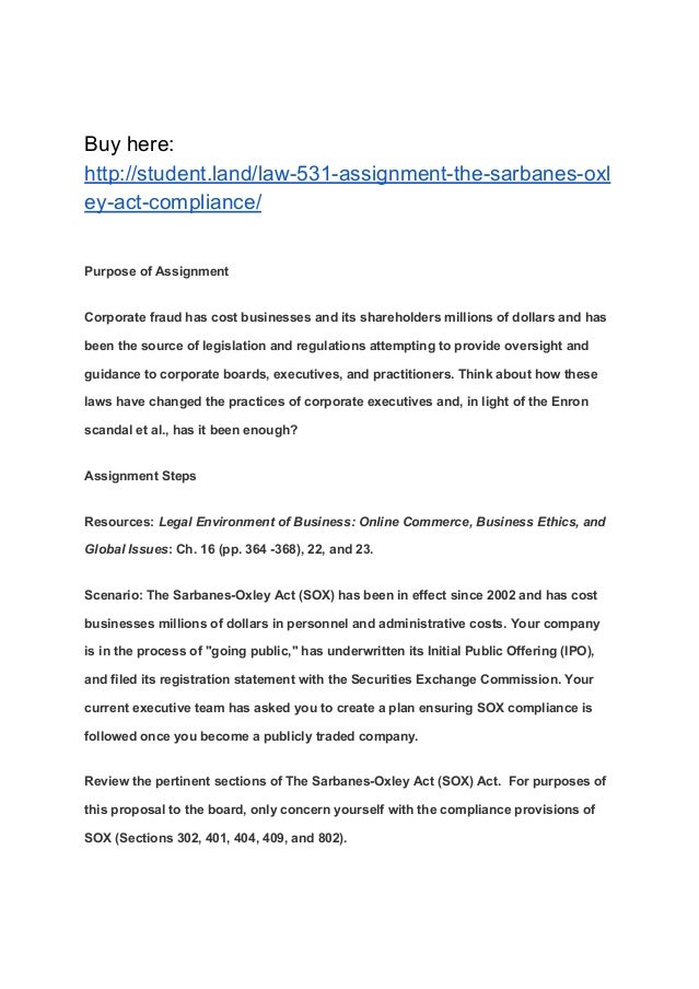 sarbanes oxley act paper Fixed asset manager's guide to sarbanes-oxley  sarbanes-oxley act of 2002  this paper is designed.