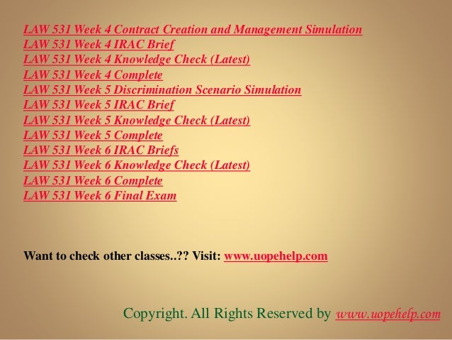 Law 531 week 4 contract creation and management