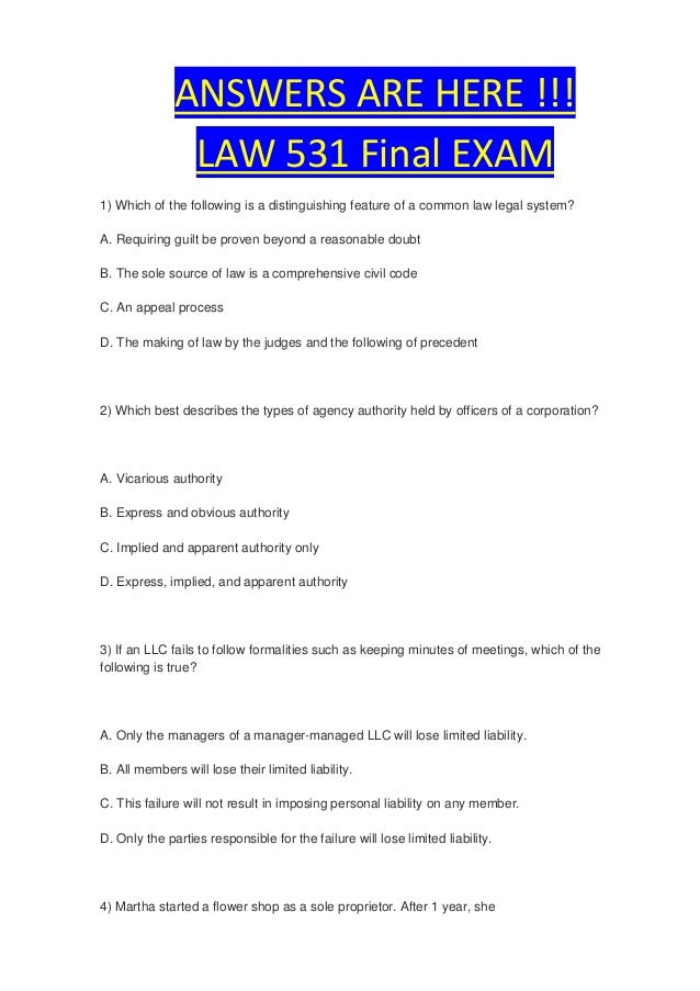 final exam questions law 531 Law 531 free final exam review slideshare uses cookies to improve functionality and performance, and to provide you with relevant advertising if you continue browsing the site, you agree to the use of cookies on this website.