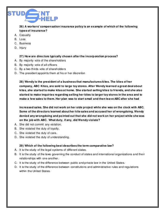 business law final exam essay Final exam mgmt 380 – business law i instructions: this exam consists of 20 multiple choice questions worth 20 points and 2 essay questions worth 5 points each (10 points total.
