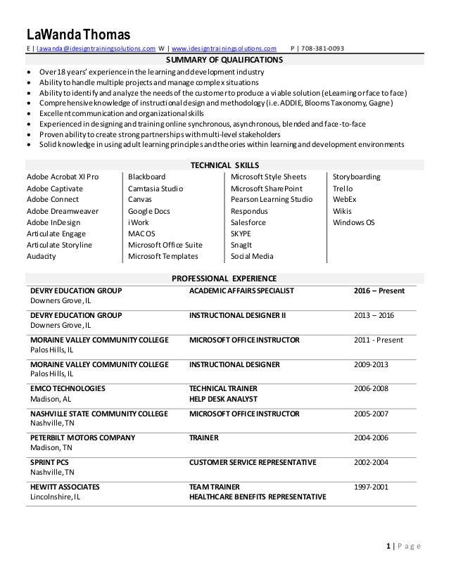 lawanda thomas resume 2017