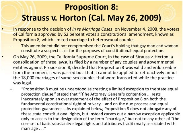 an analysis of the california marriage protection act of 2008 The state constitution currently does not define marriage under current california statute, only marriage between a man and a woman is valid and recognized.
