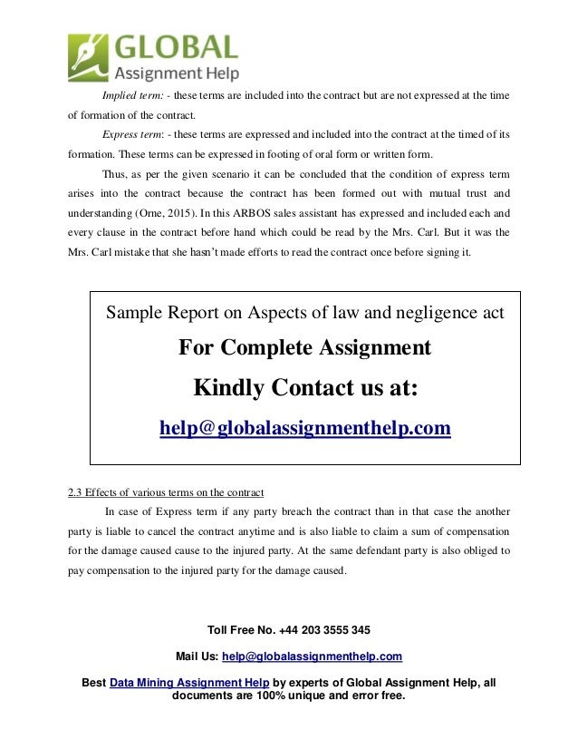 Sample On Aspects of law and negligence act