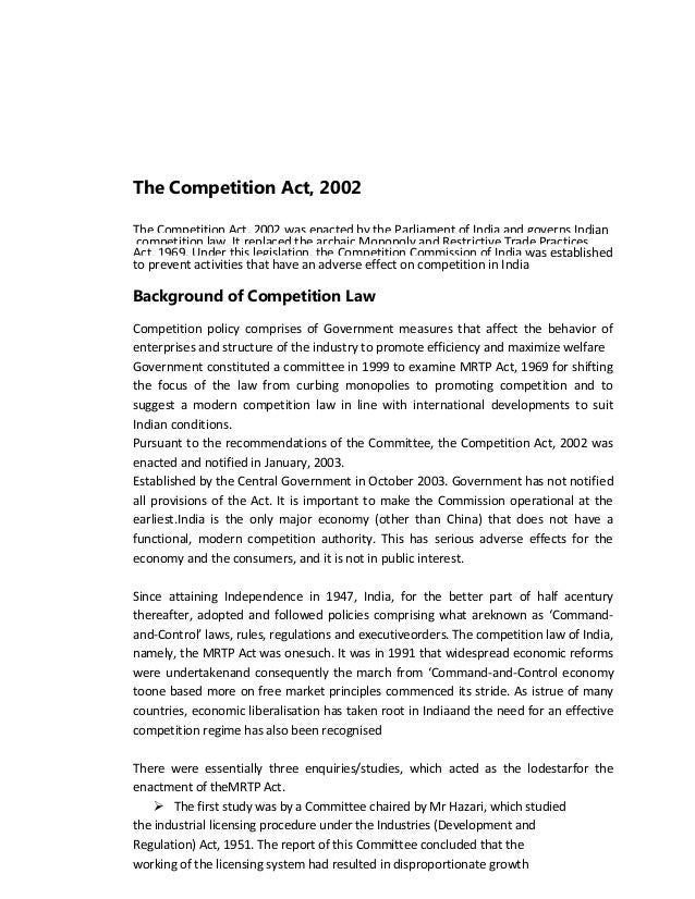 competition act case study Until the enactment of the competition act 2002 (competition act), restrictive   economic analysis to abuses of dominance cases is reflected in.