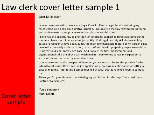 Cover Letter Of Law Clerk   Law Clerk Cover Letter