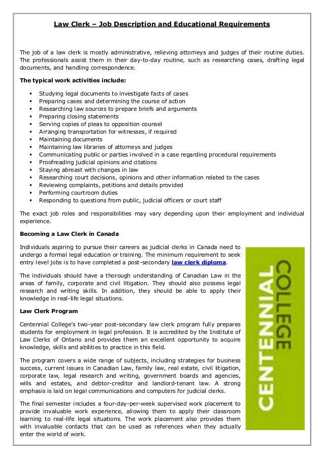 Law Clerk Job Description And Educational Requirements