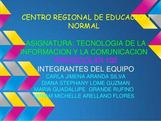 CENTRO REGIONAL DE EDUCACION          NORMAL  ASIGNATURA: TECNOLOGIA DE LAINFORMACION Y LA COMUNICACION         PREESCOLAR...
