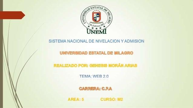 SISTEMA NACIONAL DE NIVELACION Y ADMISION AREA: 5 CURSO: M2