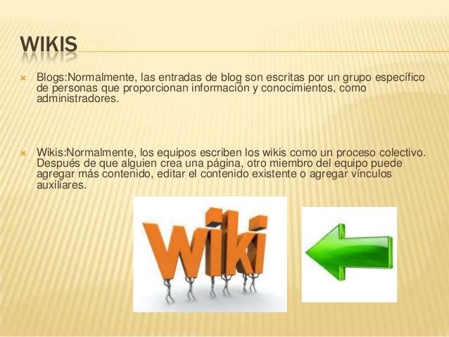 WIKIS  Blogs:Normalmente, las entradas de blog son escritas por un grupo específico de personas que proporcionan informac...