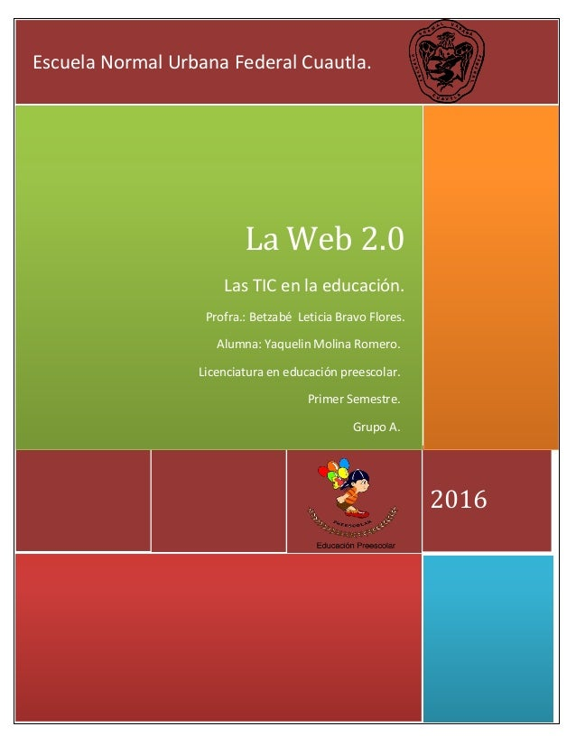 2016 La Web 2.0 Las TIC en la educación. Profra.: Betzabé Leticia Bravo Flores. Escuela Normal Urbana Federal Cuautla. Alu...
