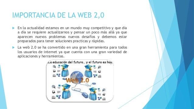 IMPORTANCIA DE LA WEB 2,0  En la actualidad estamos en un mundo muy competitivo y que día a día se requiere actualizarnos...