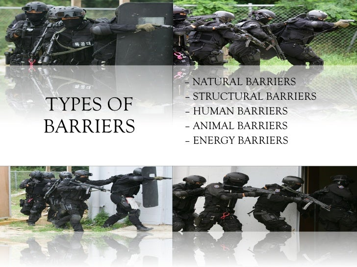 TYPES OF BARRIERS –  NATURAL BARRIERS –  STRUCTURAL BARRIERS  –  HUMAN BARRIERS –  ANIMAL BARRIERS –  ENERGY BARRIERS
