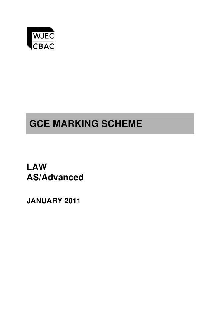GCE MARKING SCHEMELAWAS/AdvancedJANUARY 2011