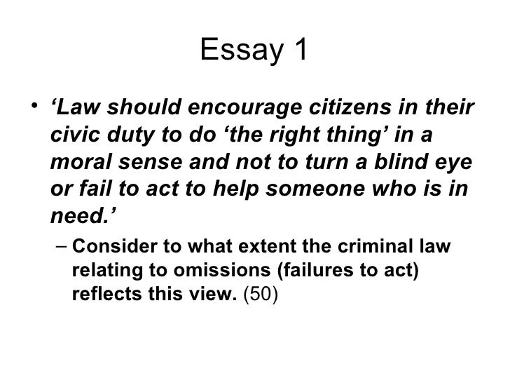 Acts & Omissions Criminal Law