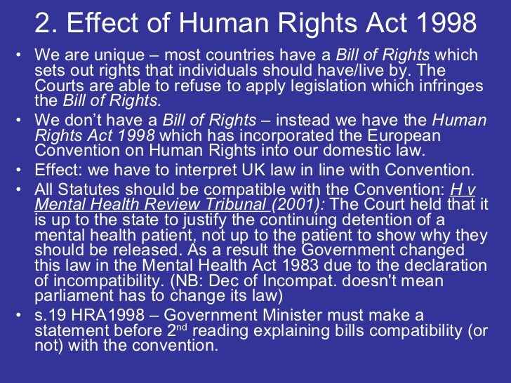 impact of the human rights act 1998 Rights act 1998 as local authorities were exposed to just those dangers under the human right act human rights act 1998 the impact on children and.