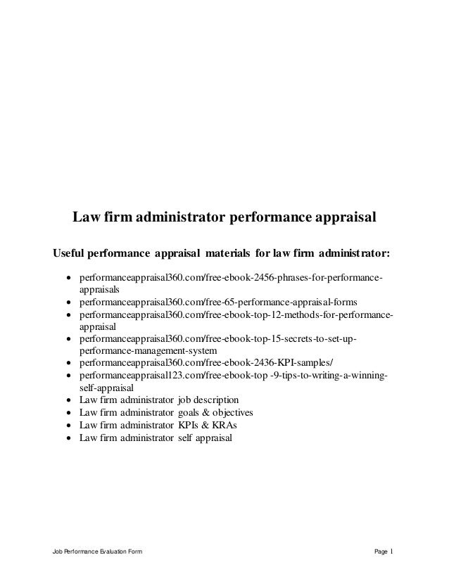 Job Performance Evaluation Form Page 1 Law firm administrator performance appraisal Useful performance appraisal materials...