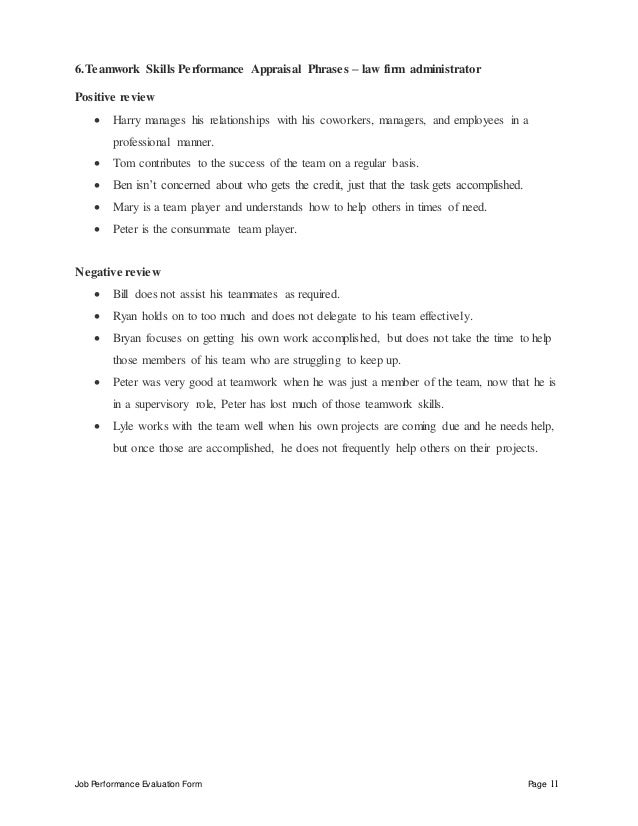Job Performance Evaluation Form Page 11 6.Teamwork Skills Performance Appraisal Phrases – law firm administrator Positive ...