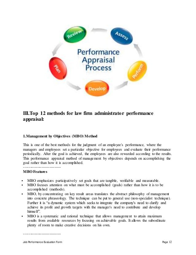 Job Performance Evaluation Form Page 12 III.Top 12 methods for law firm administrator performance appraisal: 1.Management ...