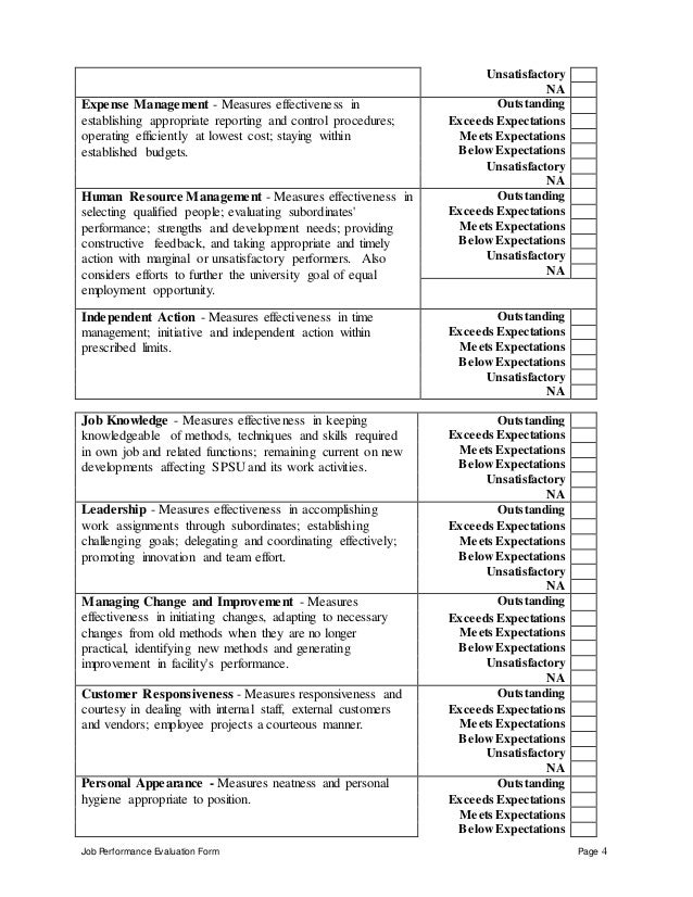 Job Performance Evaluation Form Page 4 Unsatisfactory NA Expense Management - Measures effectiveness in establishing appro...