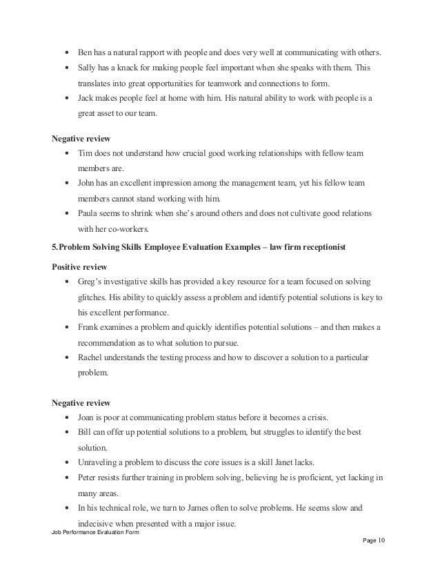 law firm receptionist performance appraisal