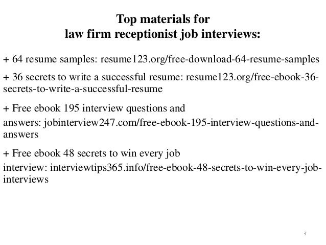 2 3 Top Materials For Law Firm Receptionist Job Interviews 64 Resume Samples