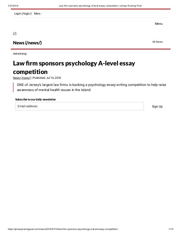 law firm sponsors psychology a level essay competition