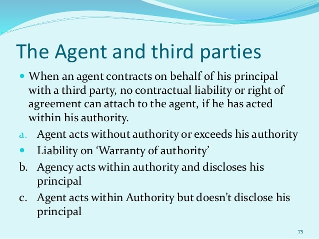 liability for agent's contracts