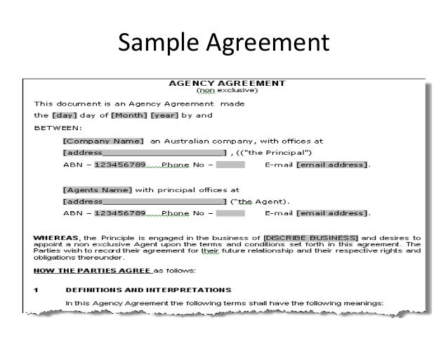 Law Of Agency – Agent Contract Agreement