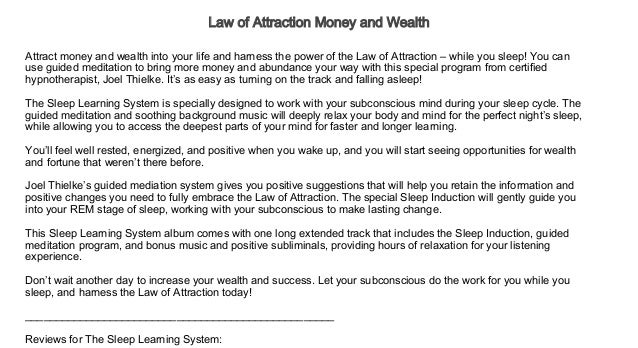 Law of Attraction Money and Wealth Audiobook Free