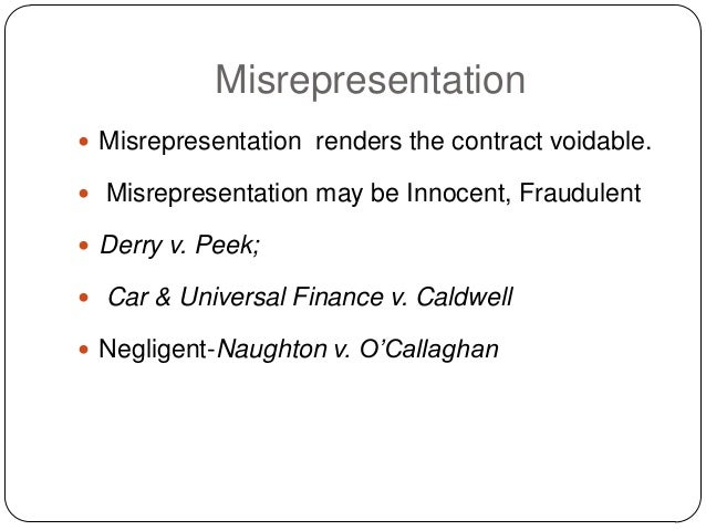 what is misrepresentation in law