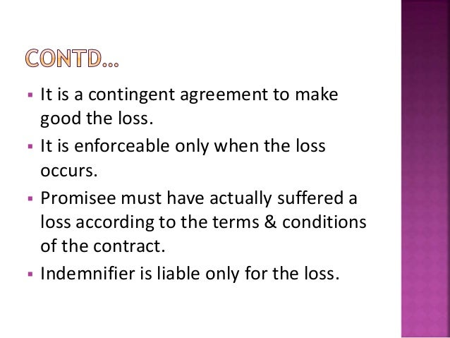 Contract of Indemnity