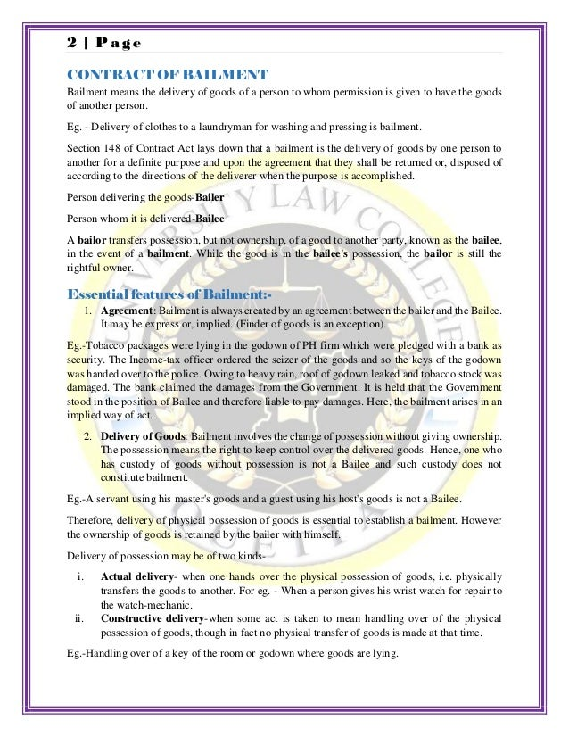 Contract Of Bailment And Rights And Duties Of Bailer And Bailee