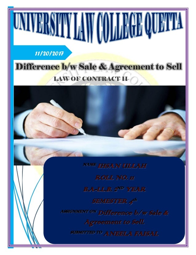 Difference Between Sale Agreement To Sell Contract Of Sale And Agr