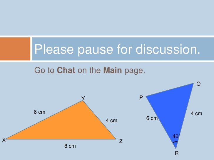 Go to Chat on the Main page.<br />Please pause for discussion.<br />Q<br />Y<br />P<br />6 cm<br />4 cm<br />4 cm<br />6 c...