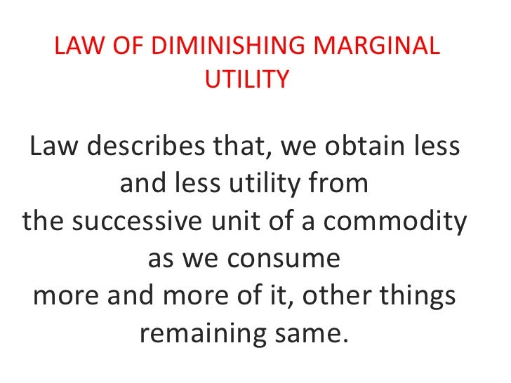 explain the law of diminishing marginal returns The law op diminishing returns in agriculture ^ by p e mcnall professor, department of agricultural economics, wisconsin agricultural experiment station.