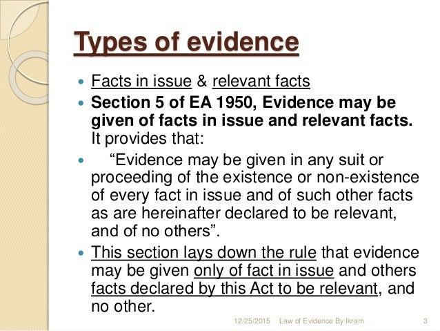 fact in issue evidence law